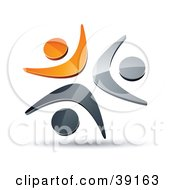 Clipart Illustration Of A Pre Made Logo Of Three Orange Chrome And Black People Celebrating Or Dancing by beboy