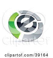 Clipart Illustration Of A Pre Made Logo Of An E Circled By Chrome And Green Bars by beboy