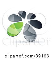 Clipart Illustration Of A Circle Of Chrome And Green Droplets Forming A Windmill