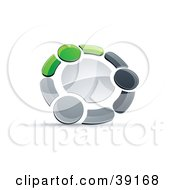 Clipart Illustration Of A Pre Made Logo Of A Circle Of Three Green Gray And Black People Holding Hands
