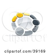 Clipart Illustration Of A Pre Made Logo Of A Circle Of Three Yellow Gray And Black People Holding Hands