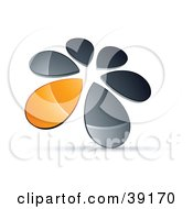 Clipart Illustration Of A Circle Of Chrome And Orange Droplets Forming A Windmill