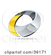 Clipart Illustration Of A Pre Made Logo Of A Chrome And Yellow Circling Ring