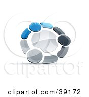 Clipart Illustration Of A Pre Made Logo Of A Circle Of Three Blue Gray And Black People Holding Hands