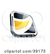 Clipart Illustration Of A Pre Made Logo Of A Black Square Button With A Yellow Wave