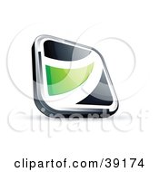 Clipart Illustration Of A Pre Made Logo Of A Black Square Button With A Green Wave