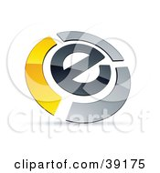 Clipart Illustration Of A Pre Made Logo Of An E Circled By Chrome And Yellow Bars