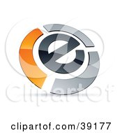 Clipart Illustration Of A Pre Made Logo Of An E Circled By Chrome And Orange Bars