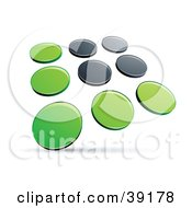 Clipart Illustration Of A Pre Made Logo Of Rows Of Green And Black Dots