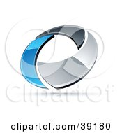 Clipart Illustration Of A Pre Made Logo Of A Chrome And Blue Circling Ring