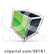 Clipart Illustration Of A Pre Made Logo Of A 3d Cube With Green And Black Sides