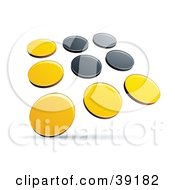 Clipart Illustration Of A Pre Made Logo Of Rows Of Yellow And Black Dots