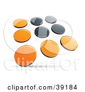 Clipart Illustration Of A Pre Made Logo Of Rows Of Orange And Black Dots