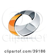 Clipart Illustration Of A Pre Made Logo Of A Chrome And Orange Circling Ring