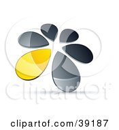 Clipart Illustration Of A Circle Of Chrome And Yellow Droplets Forming A Windmill