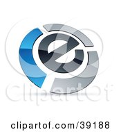 Clipart Illustration Of A Pre Made Logo Of An E Circled By Chrome And Blue Bars