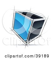 Clipart Illustration Of A Pre Made Logo Of A 3d Cube With Blue And Black Sides