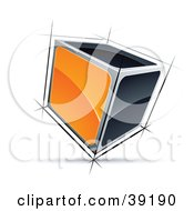 Clipart Illustration Of A Pre Made Logo Of A 3d Cube With Orange And Black Sides