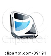 Pre Made Logo Of A Black Square Button With A Blue Wave