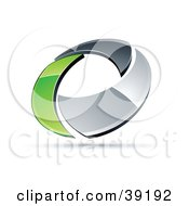 Clipart Illustration Of A Pre Made Logo Of A Chrome And Green Circling Ring