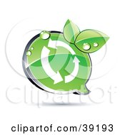 Clipart Illustration Of A Shiny Green Recycle Chat Window With Organic Dewy Leaves