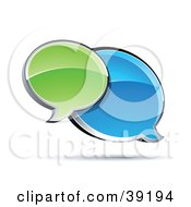 Clipart Illustration Of Shiny Green And Blue Chat Windows