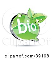 Clipart Illustration Of A Shiny Green Bio Chat Window With Organic Dewy Leaves