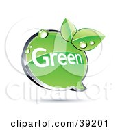 Clipart Illustration Of A Shiny Green Chat Window With Organic Dewy Leaves