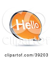 Clipart Illustration Of A Shiny Orange Hello Chat Window