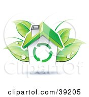 Clipart Illustration Of A House In Front Of Dewy Green Leaves