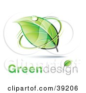 Clipart Illustration Of A Dewy Green Leaf Circled By Green With Greendesign Text
