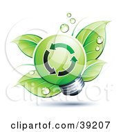 Clipart Illustration Of A Green Lightbulb In Front Of Dewy Green Leaves