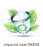 Clipart Illustration Of A Trash Can In Front Of Dewy Green Leaves