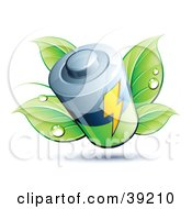 Clipart Illustration Of A Battery Sprouting Green Dewy Leaves