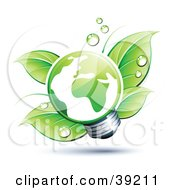 Clipart Illustration Of A Light Bulb In Front Of Dewy Green Leaves