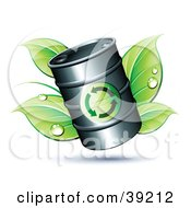 Clipart Illustration Of A Black Oil Barrel Resting On Green Dewy Leaves