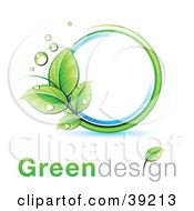 Clipart Illustration Of A Dewy Green Vine With Dew Drops Creating A Circle With Blue Aroudn White With Greendesign Text