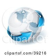 Clipart Illustration Of A Gray Globe Encircled By A Blue  Double Ended 3d Arrow Pointing To South America by beboy