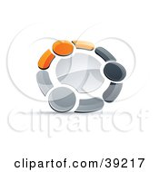 Clipart Illustration Of A Pre Made Logo Of A Circle Of Three Orange Gray And Black People Holding Hands
