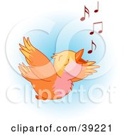 Poster, Art Print Of Joyful Orange Bird Flying And Whistling A Tune