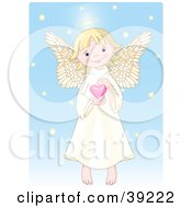 Clipart Illustration Of A Cute Innocent Blond Femal Angel With A Halo Holding A Pink Heart by Pushkin
