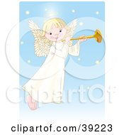Clipart Illustration Of A Cute Innocent Blond Femal Angel With A Halo Playing A Horn by Pushkin