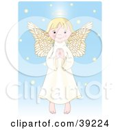Innocent Blond Femal Angel With A Halo Holding Her Hands Together