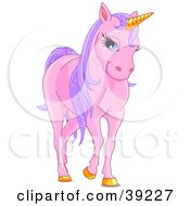 Poster, Art Print Of Pink Unicorn With Golden Hooves And Horn And Sparkly Purple Hair