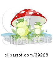Poster, Art Print Of Adult Frog Holding A Mushroom Umbrella Over A Baby Frog On A Rainy Day