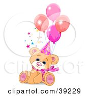 Clipart Illustration Of A Cute Feale Birthday Bear Wearing A Party Hat And Sitting With Balloons