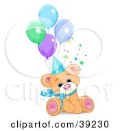 Clipart Illustration Of A Cute Male Birthday Bear Wearing A Party Hat And Sitting With Balloons by Pushkin
