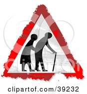 Clipart Illustration Of A Grungy Red White And Black Elderly Crossing Triangular Sign by Prawny