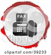 Clipart Illustration Of A Grungy Red White And Black Circular Fax Machine Sign
