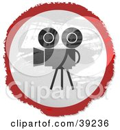 Clipart Illustration Of A Grungy Red White And Black Circular Filming Camera Sign